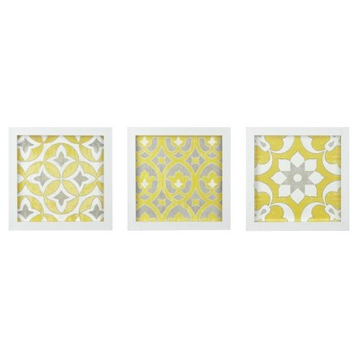 Tuscan Tiles Framed Gel Coated Paper 3 Piece Set