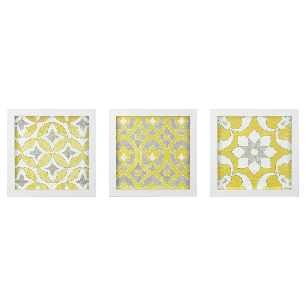 Tuscan Tiles Framed Gel Coated Paper 3 Piece Set, Yellow