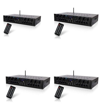 Pyle PTA66BT 600W 6 Channel Wireless Bluetooth Home Audio Amplifier Stereo Receiver Sound System with Microphone Inputs and Remote Control (4 Pack)