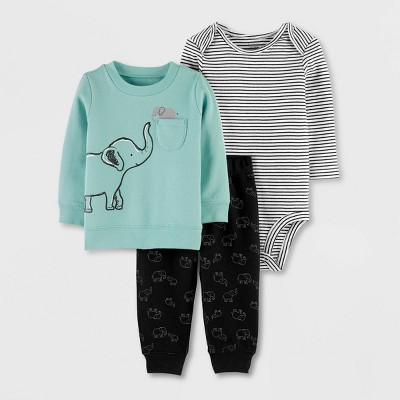 Baby Boys' 3pc Elephant Print Pullover Top & Bottom Set - Just One You® made by carter's Gray 9M