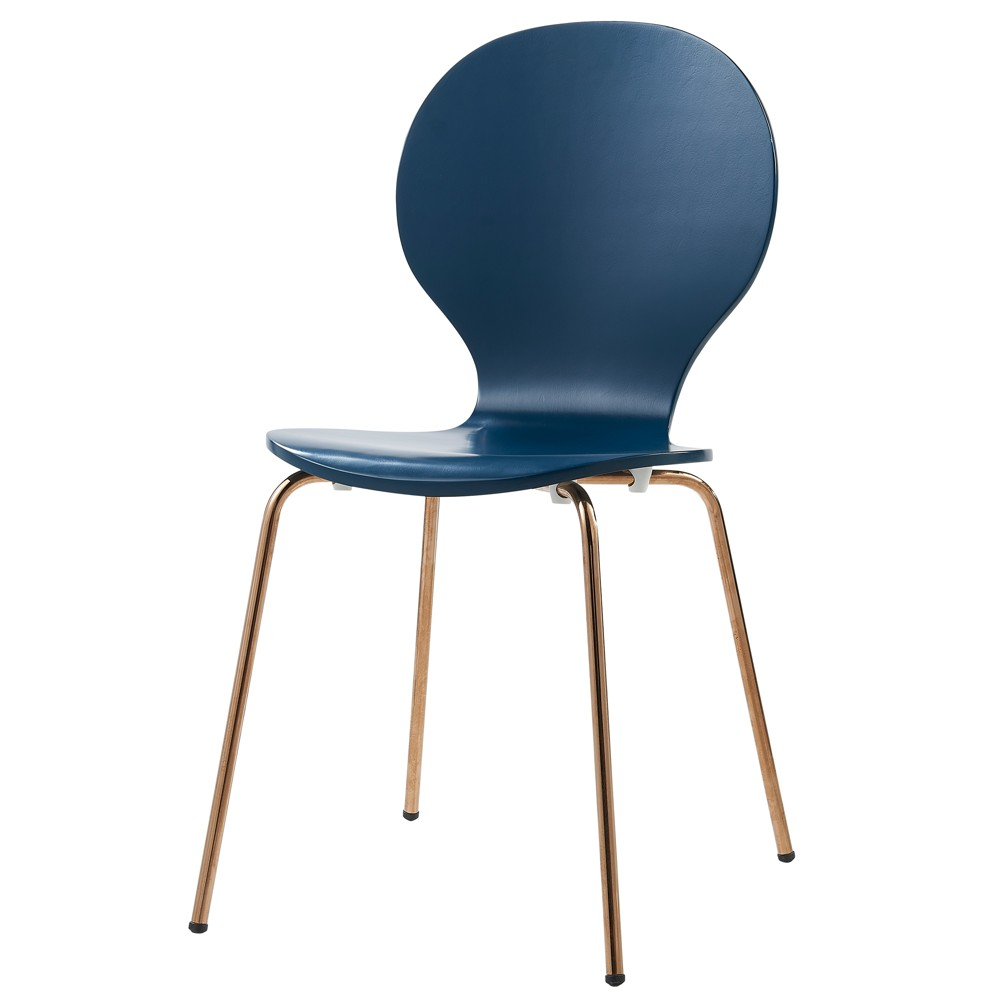 Image of Set of 2 Contorno Bentwood Chairs Blue/Rose Gold - Versanora