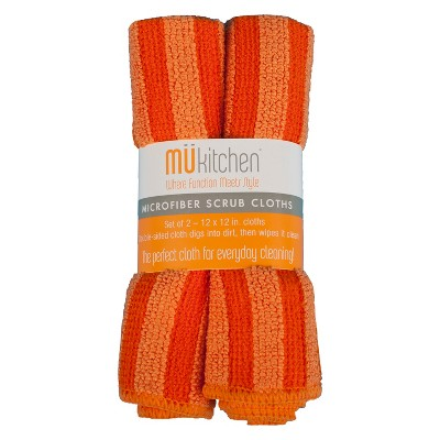 Microfiber Scrub Dish Wash Cloth Orange Set of 2 - Mu Kitchen