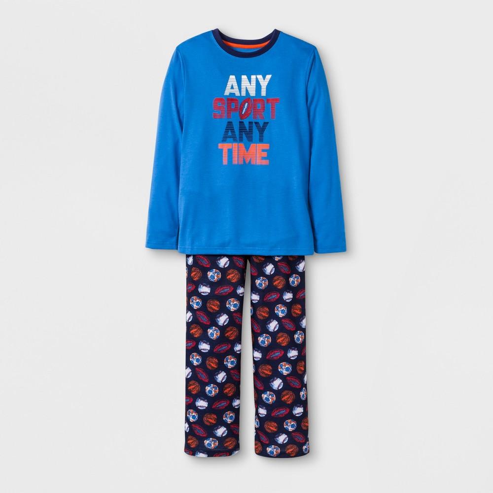 Boys' 2pc Sports Graphic Long Sleeve Pajama Set - Cat & Jack Blue XL