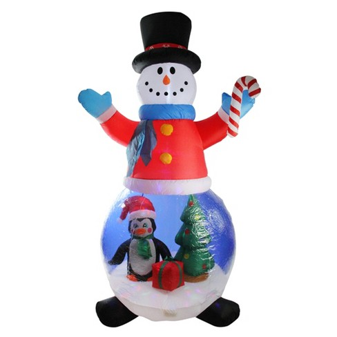 LB International 8' Pre-Lit Inflatable Snowman And Penguin Christmas Globe Outdoor Decoration : Target