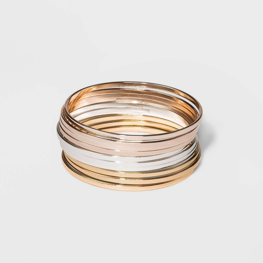 Tri Tone Bangle Bracelet 10pc – A New Day S/M, Women's, Size: Small/Medium, MultiColored