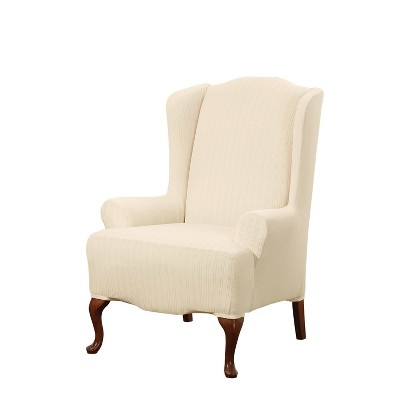 Stretch Pinstripe Wing Chair Slipcover - Sure Fit