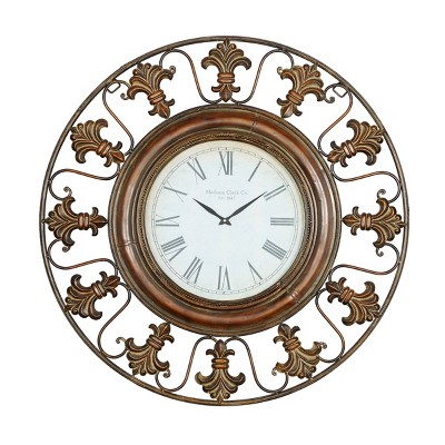 """38"""" x 38"""" Traditional Large Round Metal Fleur De Lis Wall Clock with Roman Numerals Brown - Olivia & May"""