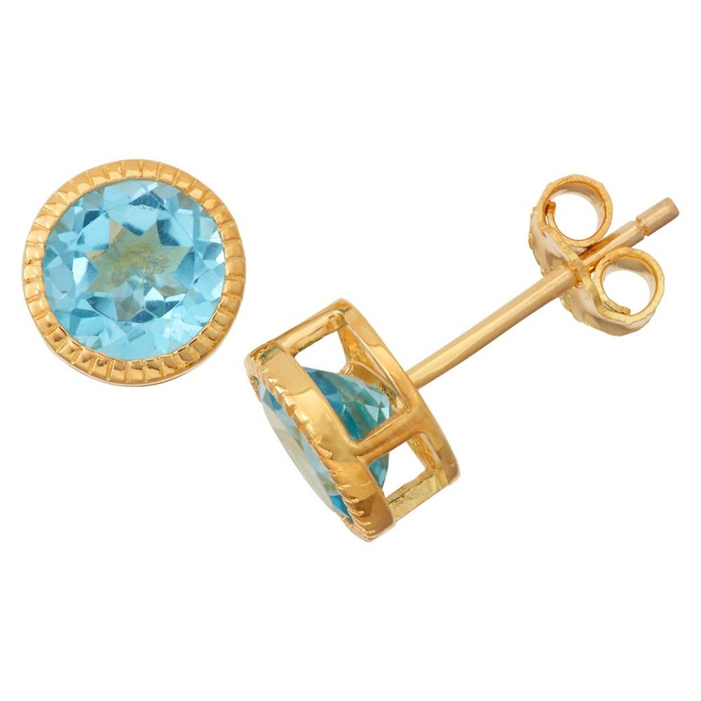 1 2/3 Tcw Tiara Gold Over Silver 6mm Bezel-set Swiss Blue Topaz Stud Earrings