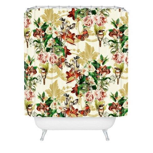 Baroque Flower Bouquet I Shower Curtain Green - Deny Designs - image 1 of 4