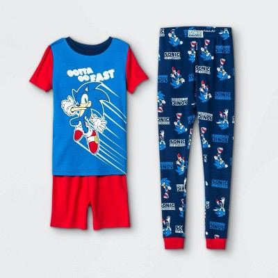 Boys' Sonic 'Gotta Go Fast' 3pc Pajama Set - Blue/Red
