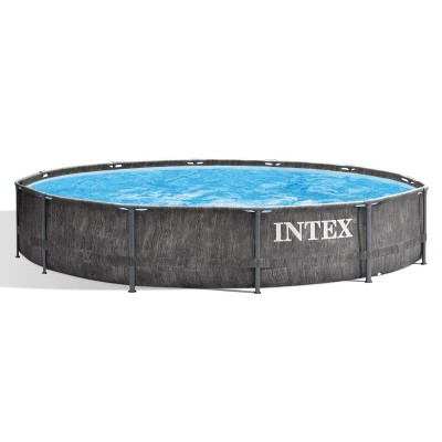 Intex 26749ST 12 Foot x 30 Inch Round Greywood Prism Steel Frame Premium Above Ground Pool Set with Filter Cartridge Pump & Pool Liner, Gray Woodgrain