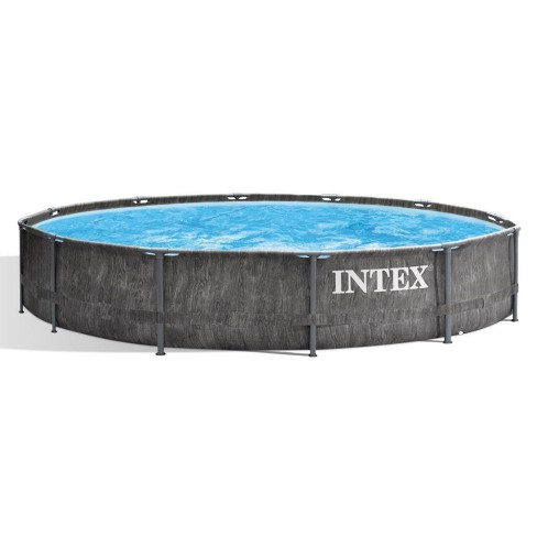 Intex 26749ST 12 Foot x 30 Inch Round Greywood Prism Steel Frame Premium Above Ground Pool Set with Filter Cartridge Pump & Pool Liner, Gray Woodgrain - image 1 of 4