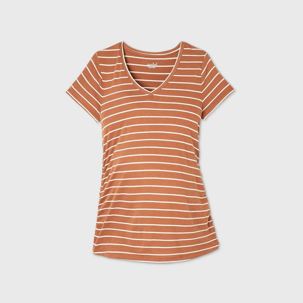 Maternity Striped Short Sleeve V Neck Side Shirred T Shirt Isabel Maternity By Ingrid 38 Isabel 8482 Brown L