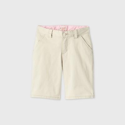 Girls' Flat Front Stretch Uniform Shorts - Cat & Jack™ Light Khaki