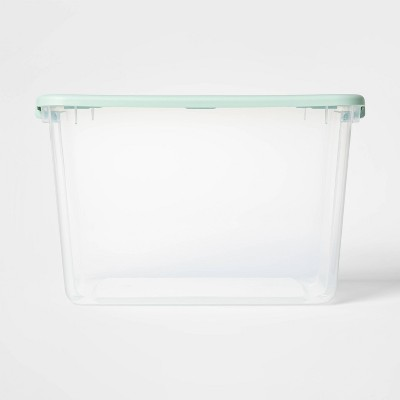 66qt Latching Storage Box with Lid Clear/Mint - Room Essentials™