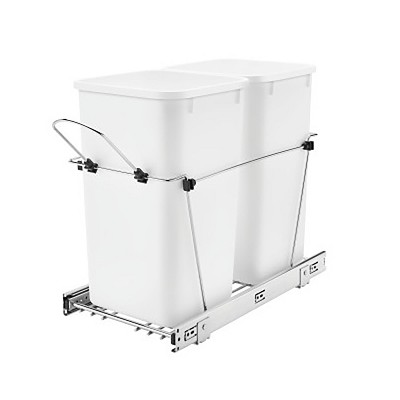 Rev-A-Shelf RV-15KD-11C-S Double 27-Quart Chrome Wire Bottom Mount Pullout Kitchen Waste Trash Can Container Bin with Full-Extension Slides, White