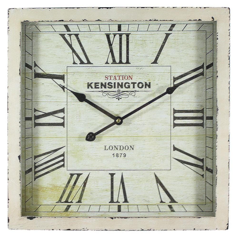 """Image of """"15¾"""""""" Square Wall Clock Distressed White - Yosemite Home Decor"""""""