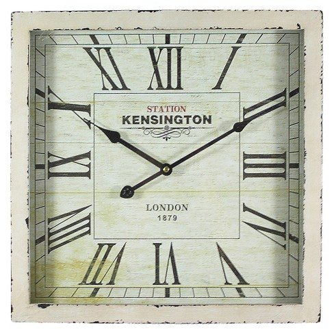 15 Square Wall Clock Distressed White