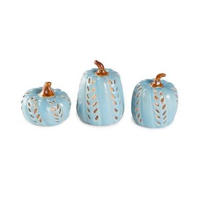 Lakeside Blue Ceramic Pumpkins - Harvest or Halloween Decorations - Set of 3