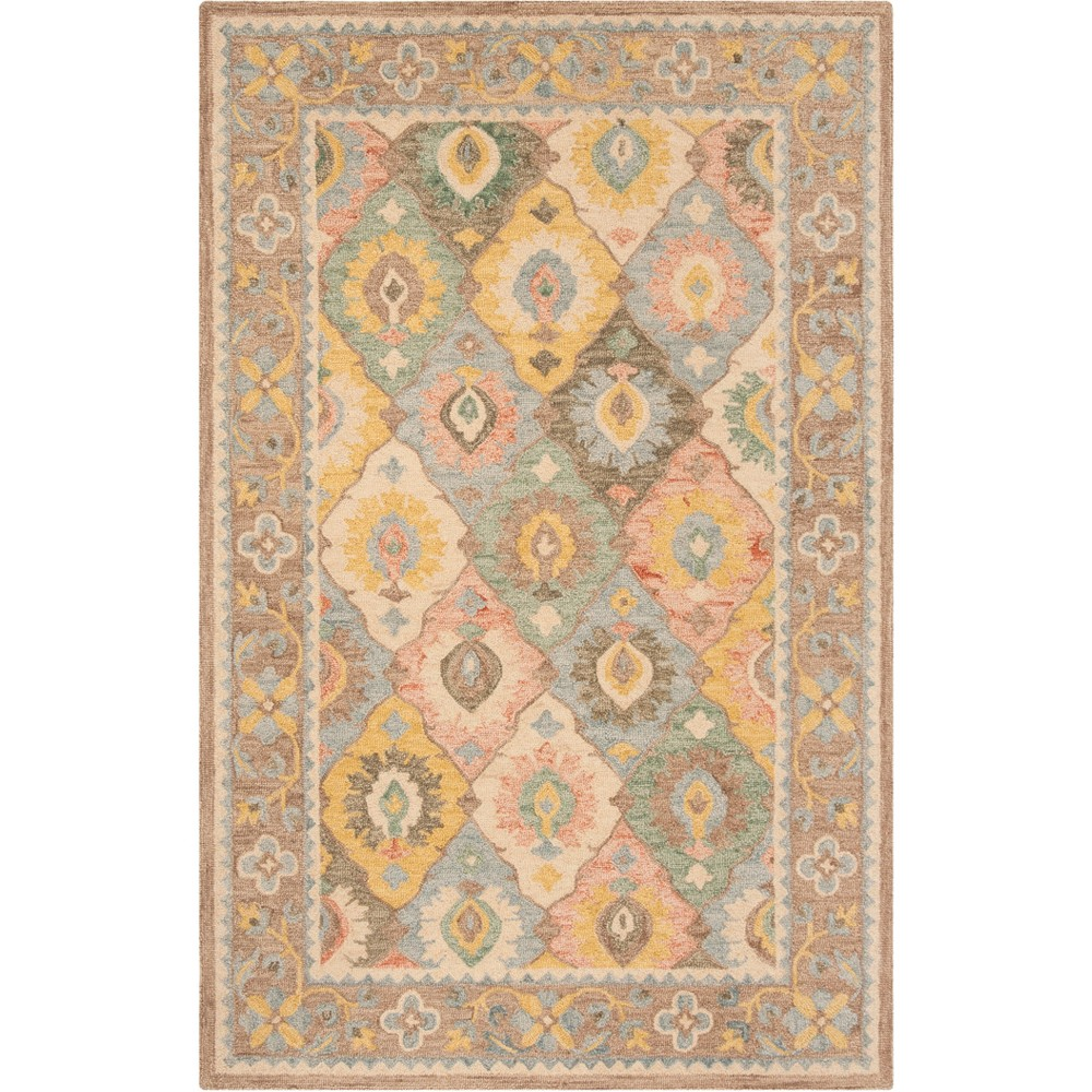5 X8 Floral Hooked Area Rug Ivory Safavieh