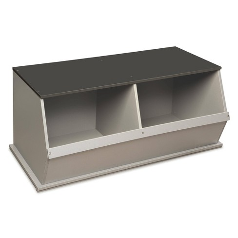 Two Bin Stackable Storage Cubby Gray - Badger Basket - image 1 of 10