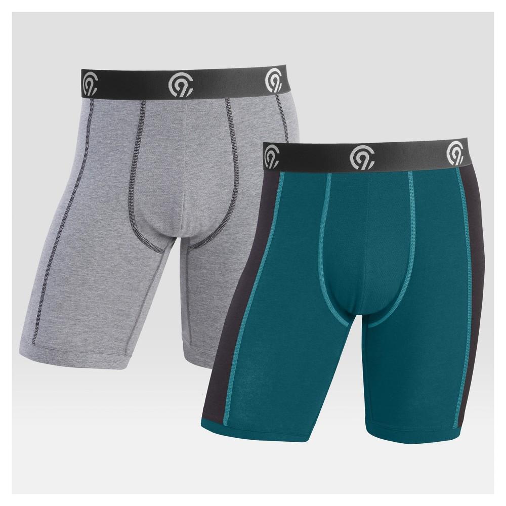 Men's Performance Stretch Long Leg 2pk Boxer Briefs - C9 Champion Gray/Blue L