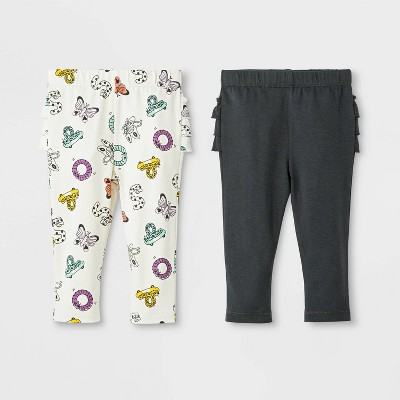 Baby Girls' 2pk Ruffle Leggings Pants Set - Cat & Jack™ Cream/Dark Gray 3-6M