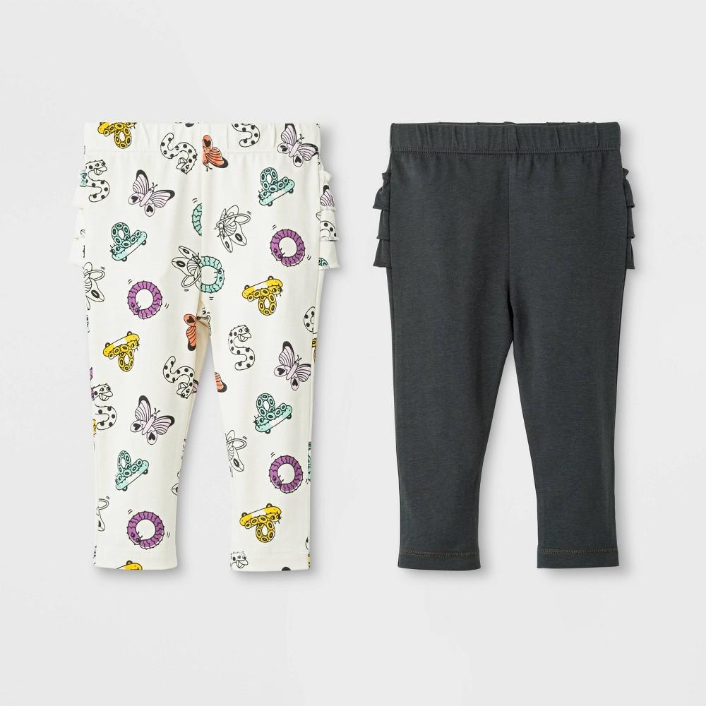 Baby Girls' 2pk Ruffle Leggings Pants Set - Cat & Jack Black/Cream 3-6M, White
