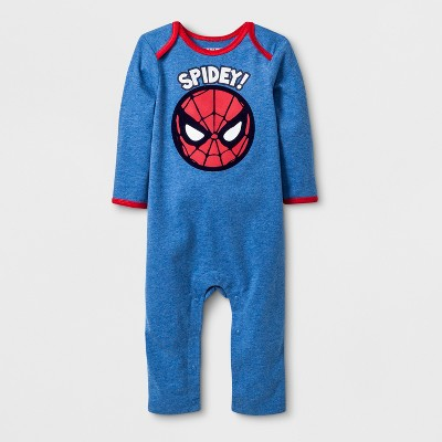 Baby Boys' Marvel Spider-Man Long Sleeve Romper - Blue Newborn