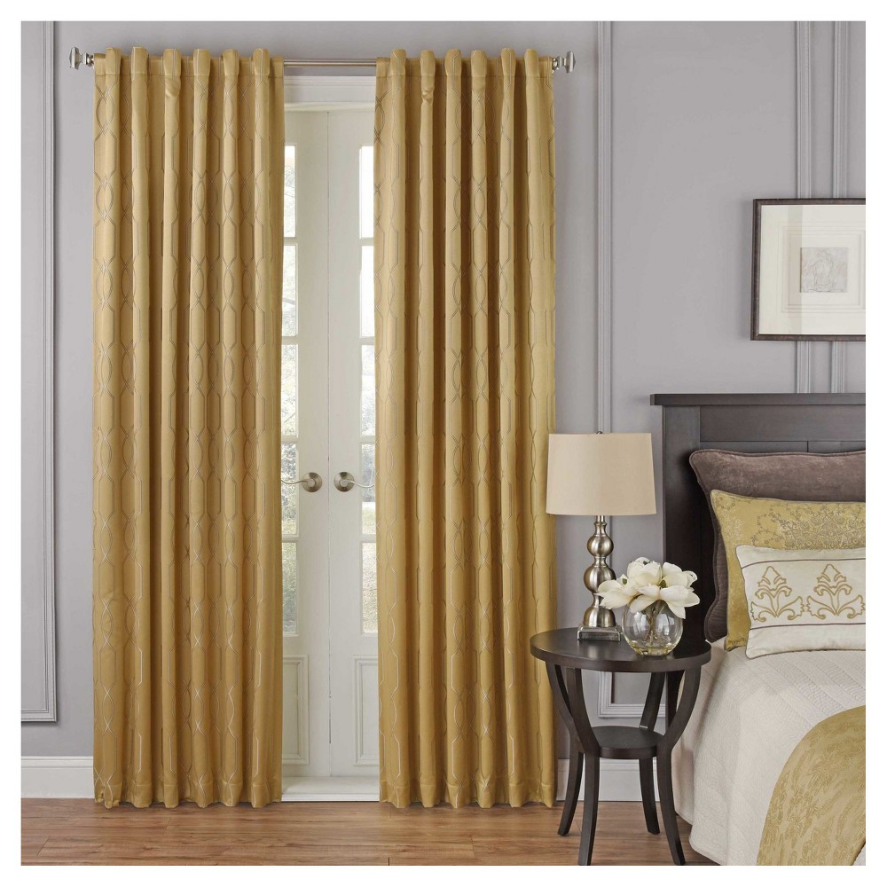 "Image of ""108""""x52"""" Yvon Blackout Curtain Panel Geometric Gold - Beautyrest"""