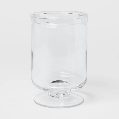 "7.5"" x 5"" Glass Seeded Hurricane Candle Holder Clear - Threshold™"