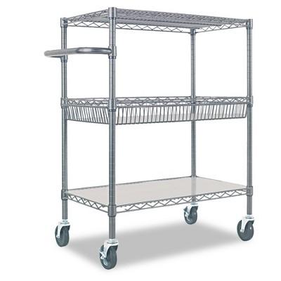Alera Three-Tier Wire Rolling Cart 34w x 18d x 40h Silver