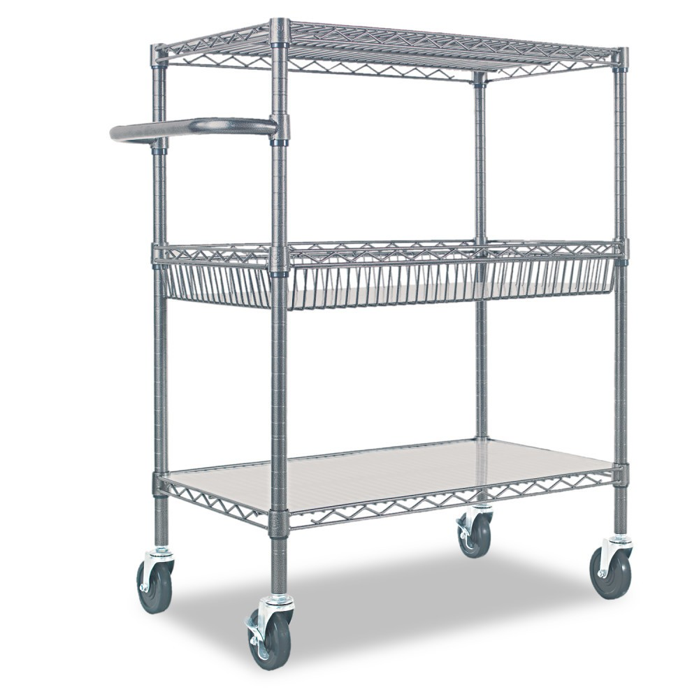 Image of Alera Three-Tier Wire Rolling Cart 34w x 18d x 40h Silver
