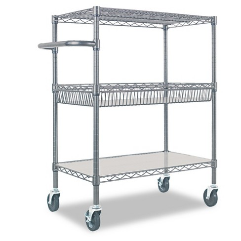 Alera Three-Tier Wire Rolling Cart 34w x 18d x 40h Silver - image 1 of 4