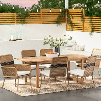 2pk Wicker & Metal Patio Dining Chairs Stripe - Threshold™ designed with Studio McGee