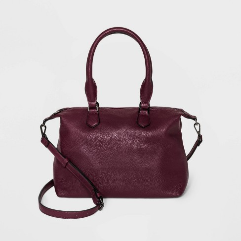 Soft Mid Size Zip Closure Satchel Handbag - A New Day™ - image 1 of 4