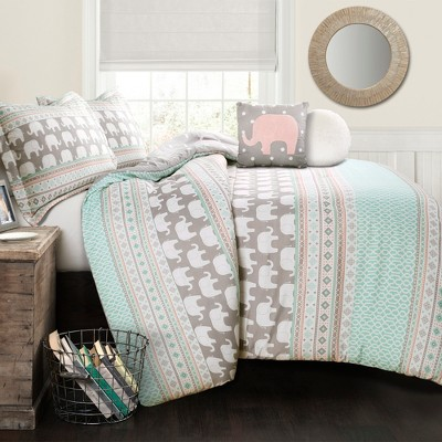 5pc Full/Queen Elephant Striped Comforter with Elephant Throw Pillow Turquoise/Pink - Lush Décor