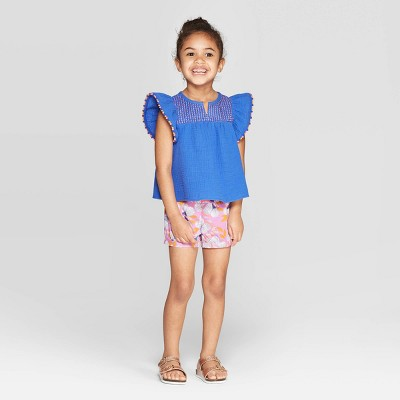 Toddler Girls' Solid Printed Top and Bottom Set - Cat & Jack™ Blue/Purple 12M