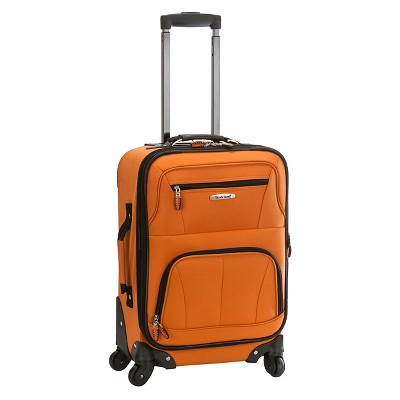 """Rockland Pasadena 19"""" Expandable Spinner Carry On Suitcase - Orange"""