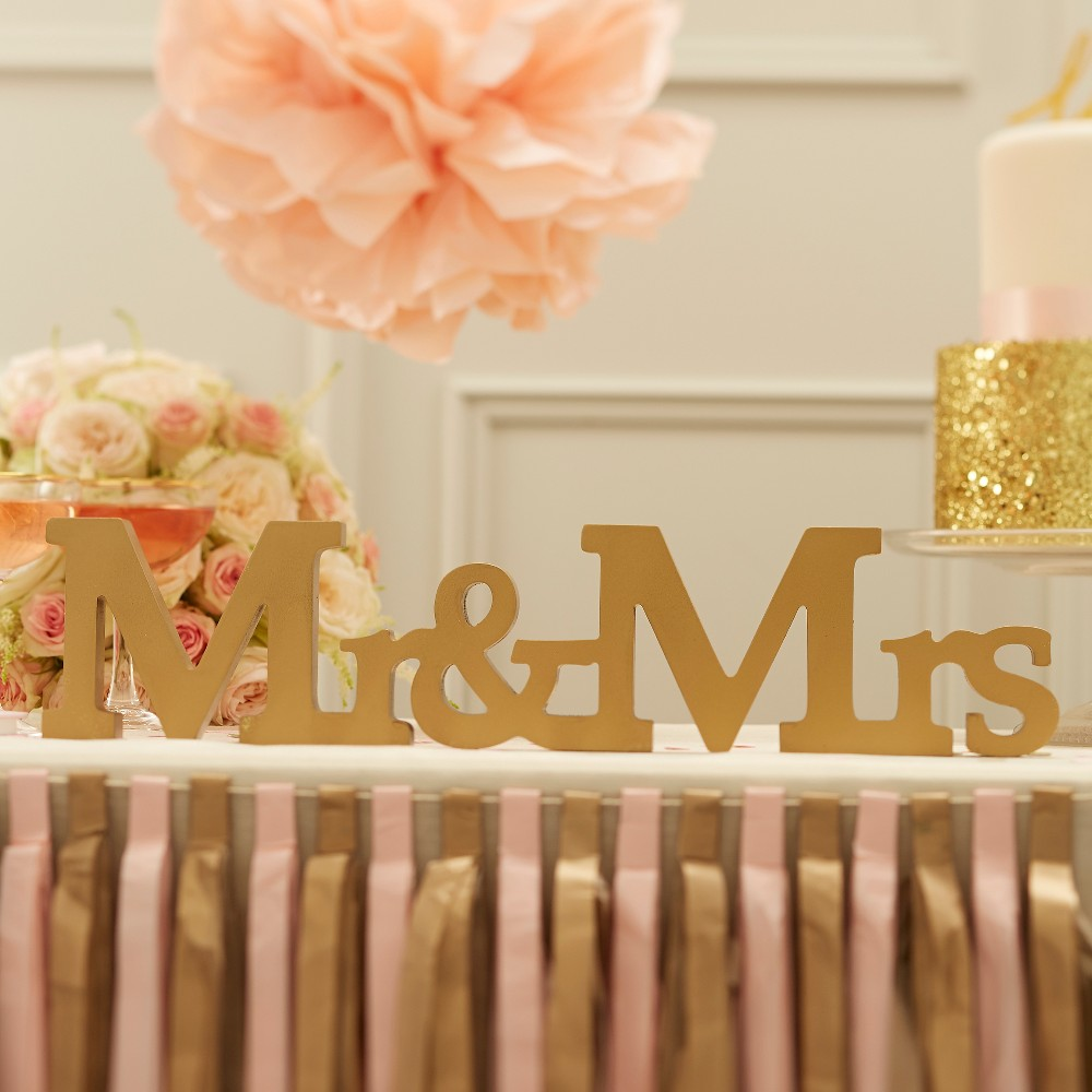 Ginger Ray Mr. And Mrs. Wooden Sign Gold Pastel Perfection, Multi-Colored