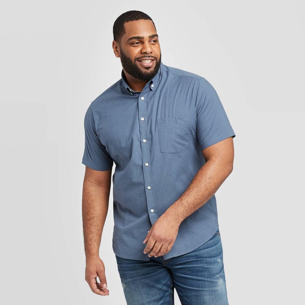 Men's Big & Tall Striped Standard Fit Short Sleeve Button-Down Shirt - Goodfellow & Co Geneva Blue 5XB, Men's was $19.99 now $12.0 (40.0% off)