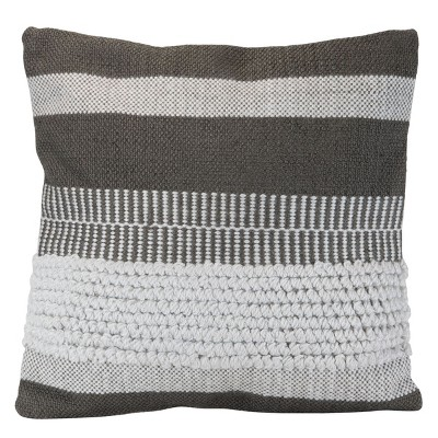 """Gray Striped Hand Woven 18x18"""" Outdoor Decorative Throw Pillow with Pulled Yarn Accents  - Foreside Home & Garden"""