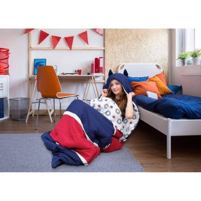 Twin XL Holger Sleeping Bag Navy/Red/White - Chic Home Design