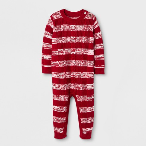 42e49782b61 Baby Boys  Marled Sweater Romper - Cat   Jack™ Red Cable   Target