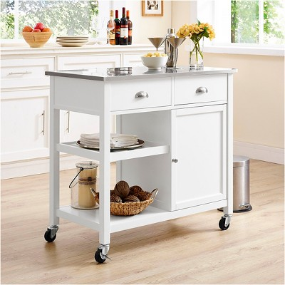 Stainless Steel Top Kitchen Island   White   Threshold™ : Target