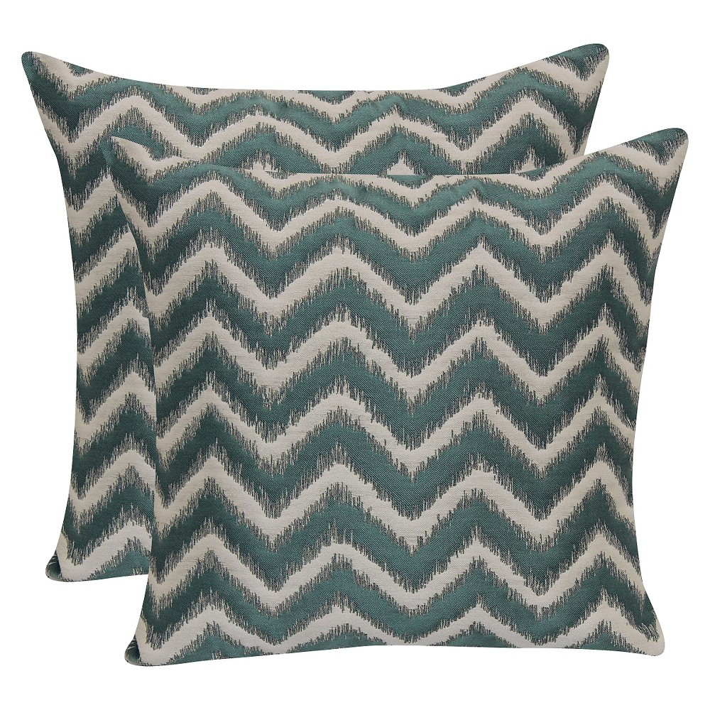 "Image of ""Aquarium Blue Jacquard Chevron Throw Pillow with Suede Back (18""""x18"""") - Brentwood"""