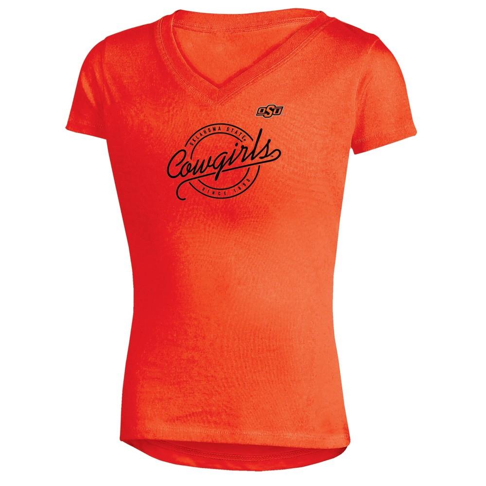 Oklahoma State Cowboys Girls Short Sleeve Puff Print V-Neck Tunic T-Shirt S, Multicolored