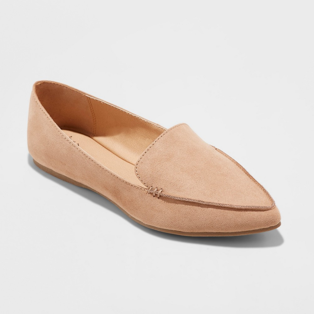 Women's Micah Wide Width Pointy Toe Loafers - A New Day Tan 7.5W, Size: 7.5 Wide