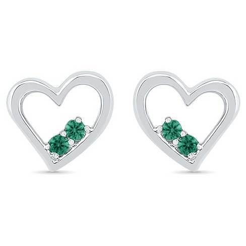 Created Emerald Prong Set Two-stone in Heart Earring in Sterling Silver - image 1 of 1