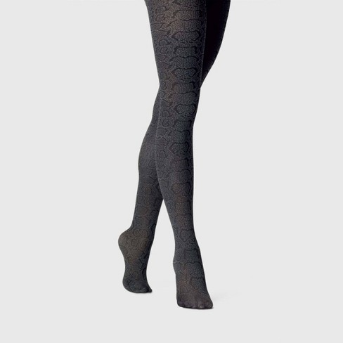 Women's Snake Skin Opaque Tights - A New Day™ Dark Gray - image 1 of 2